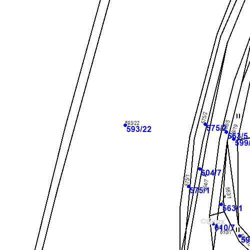 Katastrální mapa Parcela 593/22 na katastrálním území Luhov u Líšťan