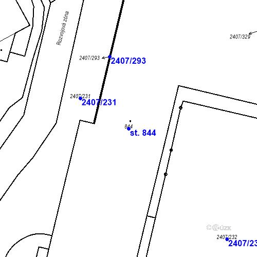 Katastrální mapa Parcela 844 na katastrálním území Janovice nad Úhlavou