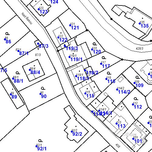 Katastrální mapa Parcela 118/1 na katastrálním území Všeborovice