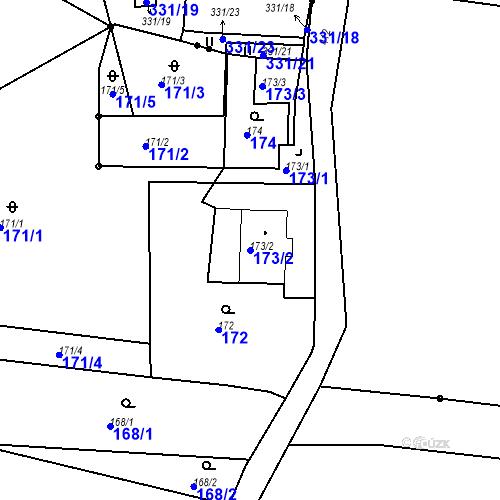 Katastrální mapa Parcela 173/2 na katastrálním území Všeborovice