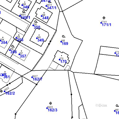Katastrální mapa Parcela 170 na katastrálním území Všeborovice
