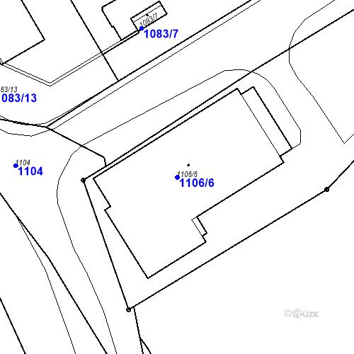 Katastrální mapa Parcela 1106/6 na katastrálním území Drahovice