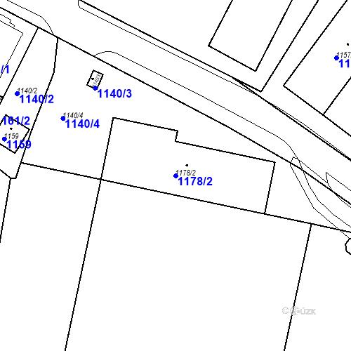 Katastrální mapa Parcela 1178/2 na katastrálním území Drahovice