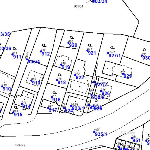 Katastrální mapa Parcela 922 na katastrálním území Drahovice