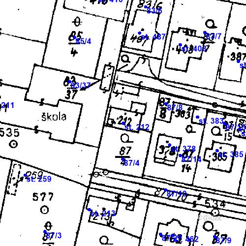Katastrální mapa Parcela 212 na katastrálním území Bezdružice