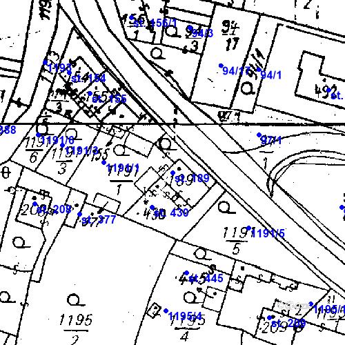 Katastrální mapa Parcela 189 na katastrálním území Bezdružice