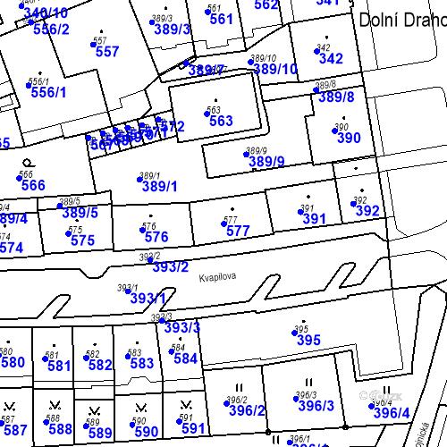 Katastrální mapa Parcela 577 na katastrálním území Drahovice