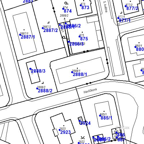 Katastrální mapa Parcela 2888/1 na katastrálním území Karlovy Vary