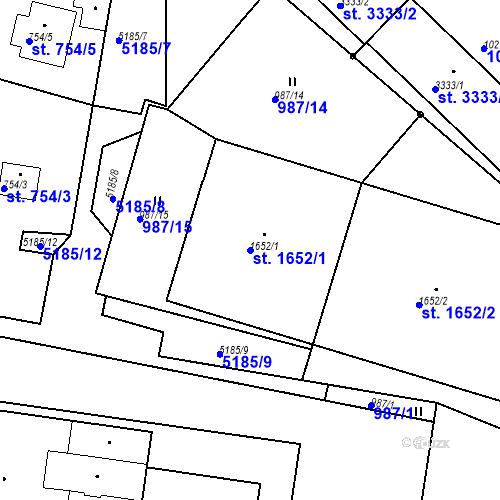 Katastrální mapa Parcela 1652/1 na katastrálním území Domažlice