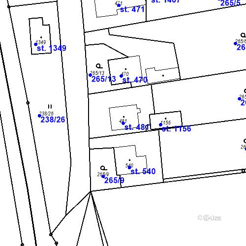 Katastrální mapa Parcela 481 na katastrálním území Bor u Tachova