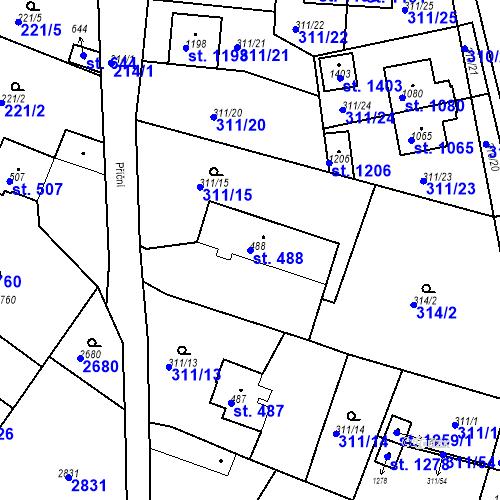 Katastrální mapa Parcela 488 na katastrálním území Bor u Tachova