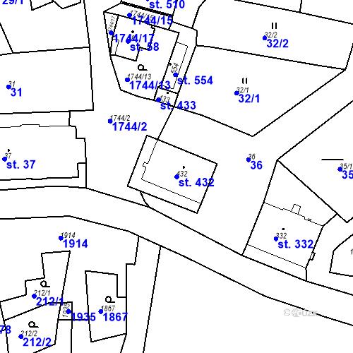 Katastrální mapa Parcela 432 na katastrálním území Krajková