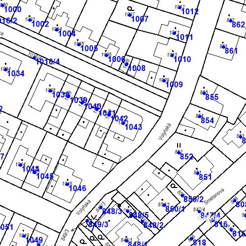 Katastrální mapa Parcela 1043 na katastrálním území Tachov