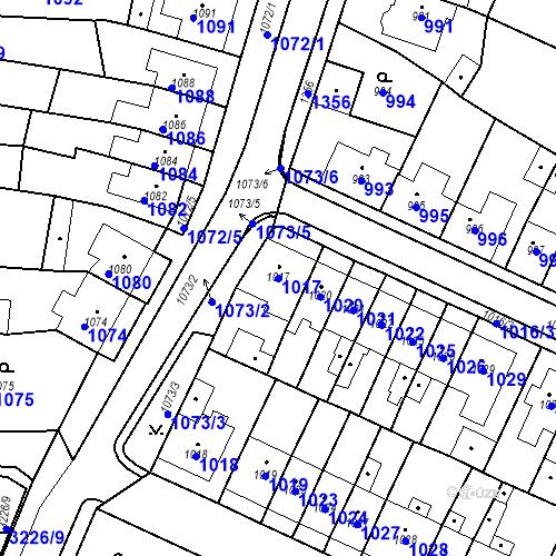 Katastrální mapa Parcela 1017 na katastrálním území Tachov