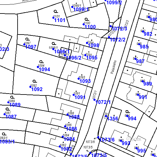 Katastrální mapa Parcela 1093 na katastrálním území Tachov