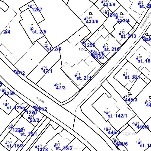 Katastrální mapa Parcela 211 na katastrálním území Františkovy Lázně