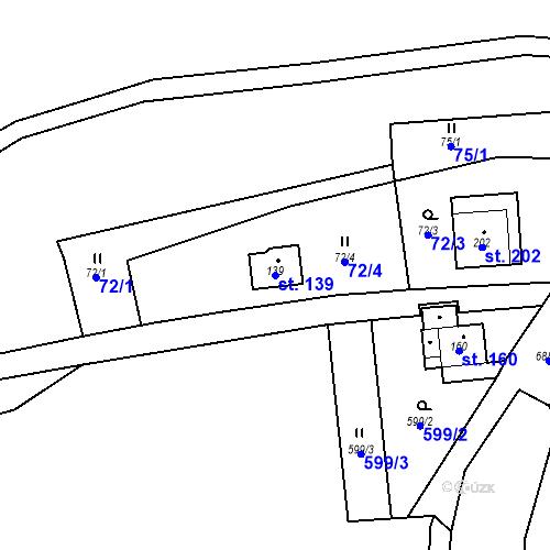 Katastrální mapa Parcela 139 na katastrálním území Doubrava u Aše