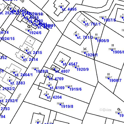 Katastrální mapa Parcela 4547 na katastrálním území Aš