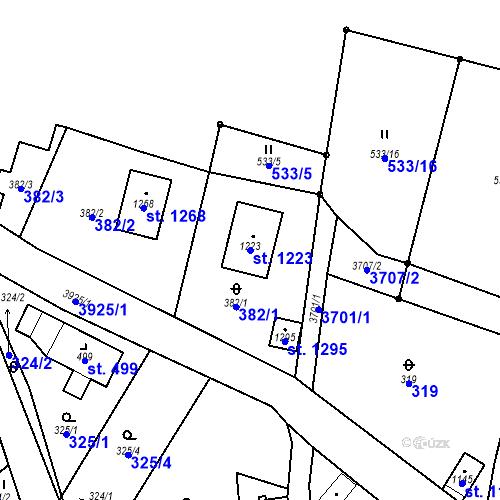 Katastrální mapa Parcela 1223 na katastrálním území Hranice u Aše