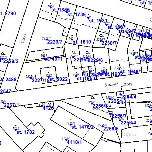 Katastrální mapa Parcela 1953 na katastrálním území Aš