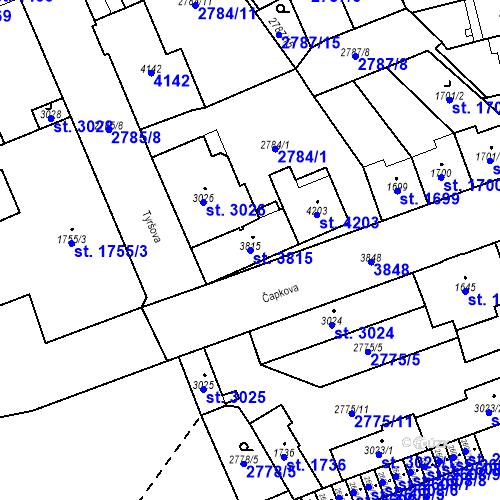 Katastrální mapa Parcela 3815 na katastrálním území Aš