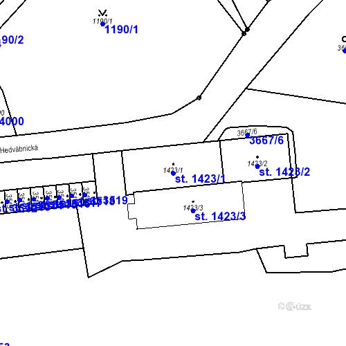 Katastrální mapa Parcela 1423/1 na katastrálním území Aš