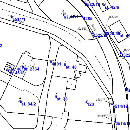 Katastrální mapa Parcela 40 na katastrálním území Aš