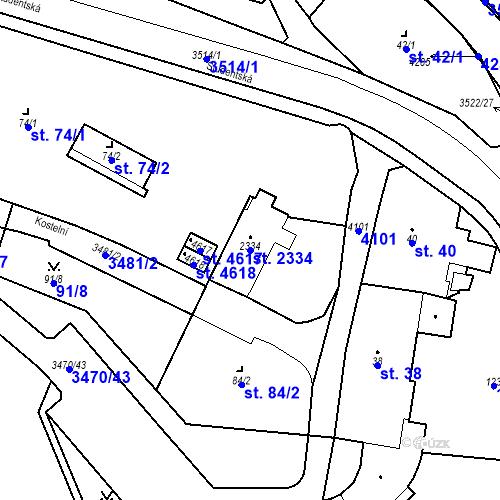 Katastrální mapa Parcela 2334 na katastrálním území Aš