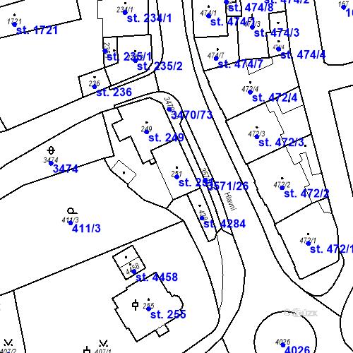 Katastrální mapa Parcela 251 na katastrálním území Aš