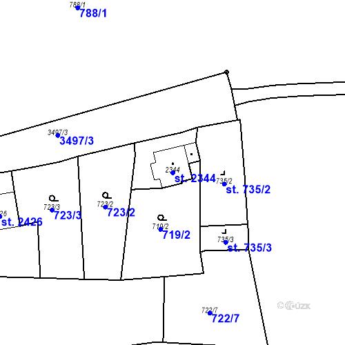 Katastrální mapa Parcela 2344 na katastrálním území Aš